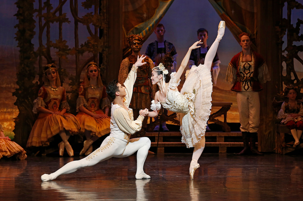 Chengwu Guo and Ako Kondo from the Australian Ballet, performing Coppélia. Source: Jeff Busby
