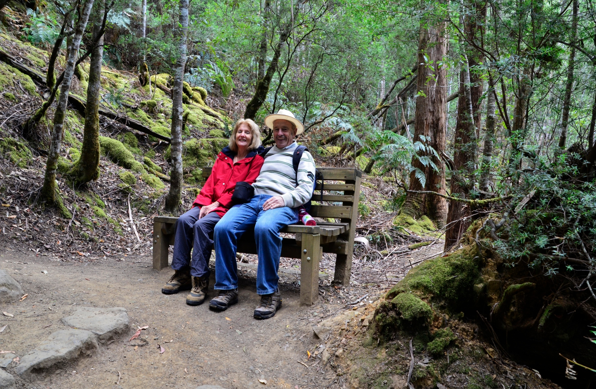 Ian and Lorraine taking a moment to catch their breath in Mount Field National Park, Tasmania. Source: Ian Smith